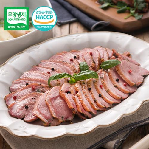 [안전한먹거리] 우수농특산물 품질인증 무항생제 착한오리훈제 슬라이스 600gx5팩이식사