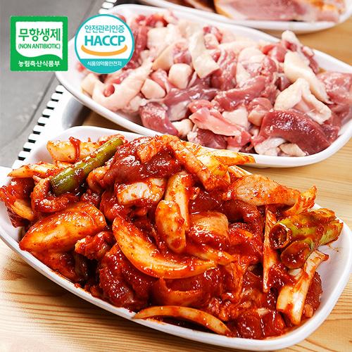 [안전한먹거리] 우수농특산물 품질인증 무항생제 오리로스 500g*3팩+고추 오리불고기 500g3팩이식사