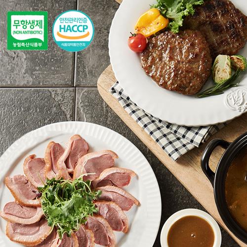 [안전한먹거리] 우수농특산물 품질인증 무항생제 오리훈제 슬라이스 600gx3팩+오리 떡갈비 300g이식사