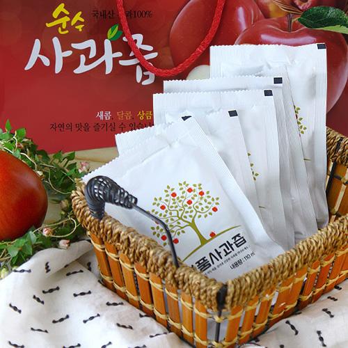 [새콤달콤] 입안가득 명품 사과즙 (110mlx30봉)x3박스(선물박스)이식사