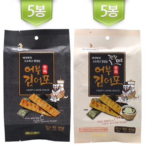 [어부 중독 김어포] 바삭바삭 고소한 특허받은 김어포 30g*5봉+간장마요 30g*5봉이식사