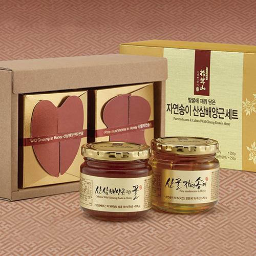 [9월20일 오전09시 결제완료건 명절전 배송가능] [꿀사랑] 특허받은 자연송꿀+산삼배양근꿀 세트이식사