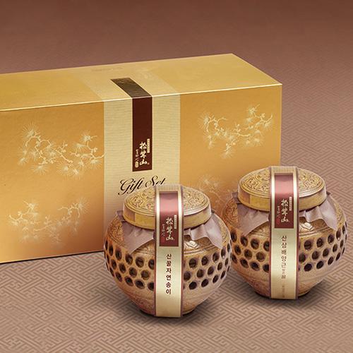[9월20일 오전 9시 결제완료건 명절전 배송가능] [강원도] 특허받은 자연송이+산삼배양근 꿀담은 선물세트 죽호이식사