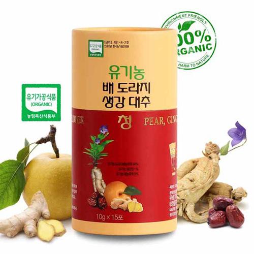 [100% 유기농재료만을 사용한] 유기농 배,도라지,생강,대추청 10g*15개입이식사