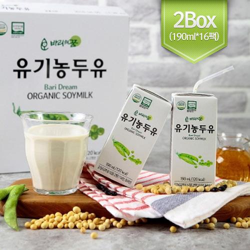 [HACCP 인증] 바리의꿈 건강음료 유기농 두유 (190ml*16팩)*2박스이식사